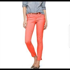 J. Crew toothpick salmon orange ankle jeans, sz 27